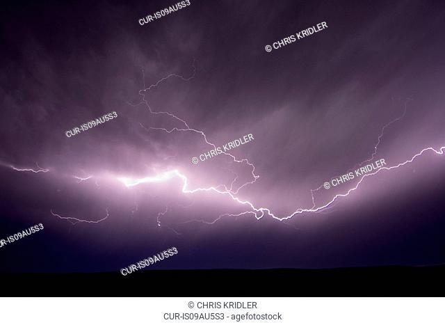 Lightning sparks from strong storms, Near Scottsbluff, Nebraska, USA