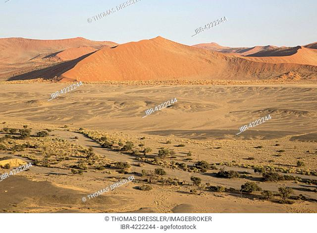 Arid plains and dry riverbed of the Tsauchab river at the edge of the Namib Desert, paved road connecting Sesriem and Sossusvlei