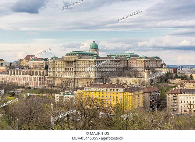 Buda Castle, view from Buda Gellérth Hill to district Pest, Budapest, Hungary, Europe