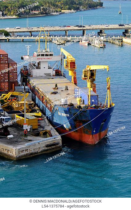 Commercial shipping in Miami Florida harbor