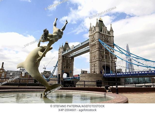 Girl with a dolphin, Bronze, Tower Bridge, London, UK