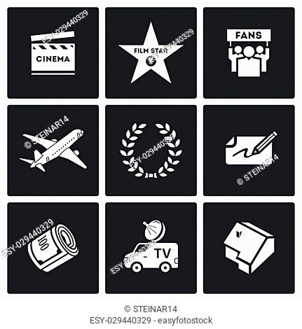 Cinema Vector Isolated Flat Icons collection on a black background