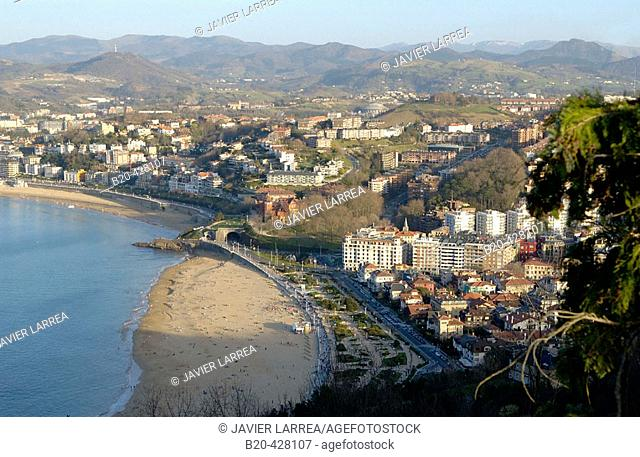 Ondarreta and La Concha beaches. Donostia, San Sebastian. Euskadi. Spain