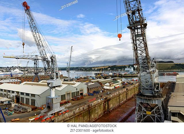 docks and cranes, Falmouth, view of docks at harbour of touristic vilage on southern cost of Cornwall