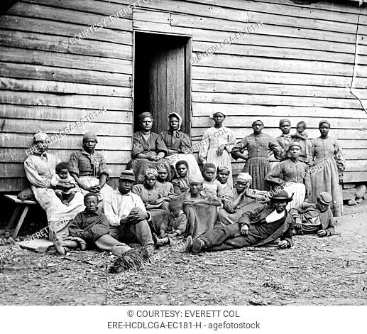 The Civil War, African American 'contrabands' escaped slaves, at Foller's house, Cumberland Landing, Virginia, by James F. Gibson, 1862