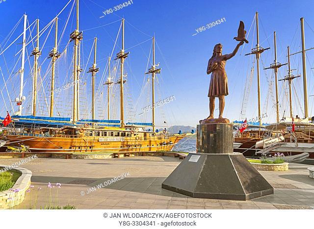 Girl with Doves Statue, Marmaris marina, Turkey
