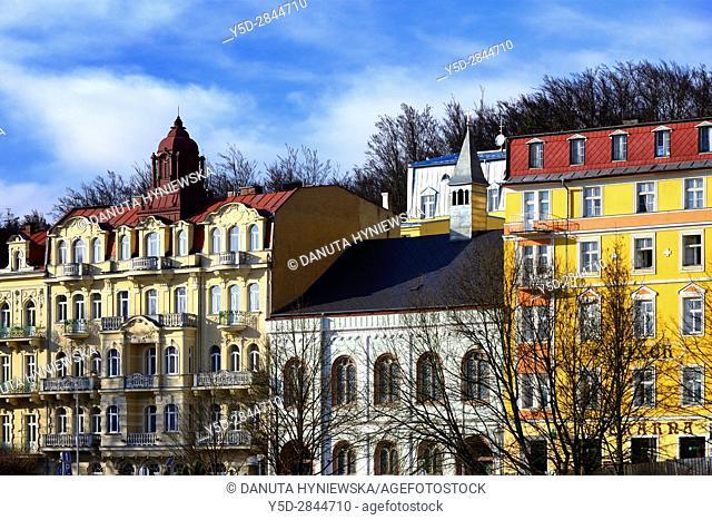 Residential architecture, Marianske Lazne resort - Marienbad, Karlovy Vary Region, West Bohemia, Czech Republic, Europe