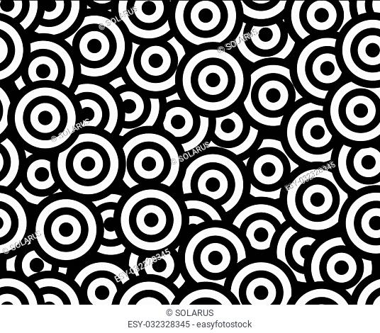 rounds black and white seamless pattern, vector illustration