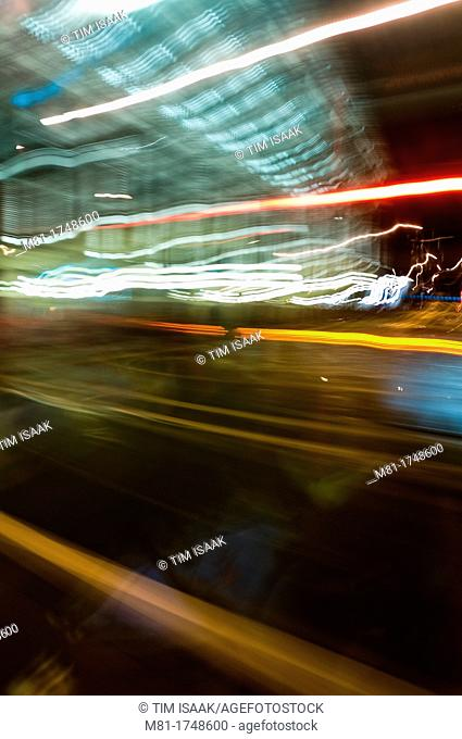 View through transit bus window at night  Victoria, British Columbia, Canada