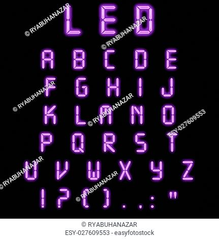 Led alphabet purple on a black background