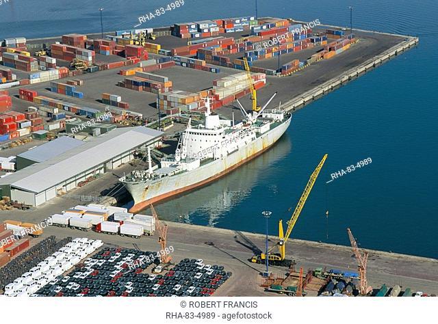 Container terminal and cargo ship, Salerno, Campania, Italy, Mediterranean, Europe