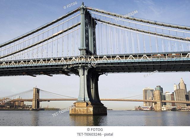 USA, New York, New York City, Manhattan, Brooklyn Bridge