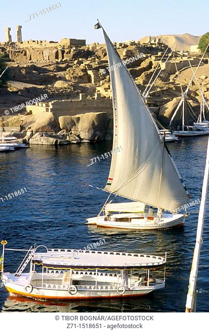 Egypt, Aswan, Nile River, felucca