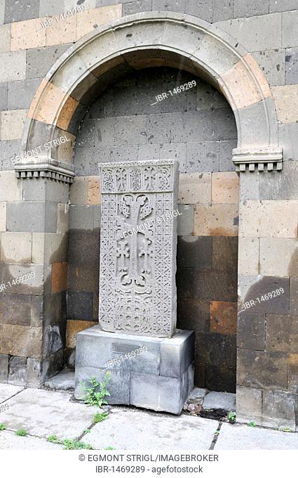 Historic cross-stone, khachkar, at the main Armenian orthodox cathedral, UNESCO World Heritage Site, Echmiadzin, Armenia, Asia