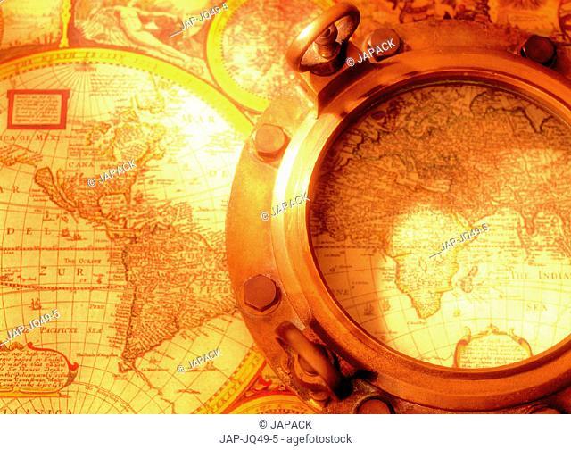 Ship wheel on map