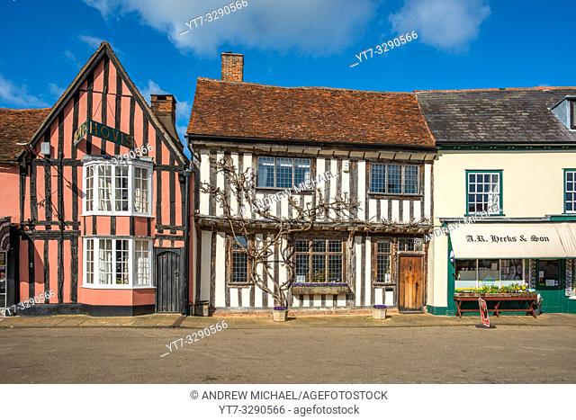 Picturesque local shops on the Market Square Lavenham Suffolk England UK