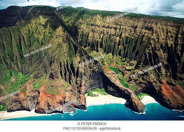 Hawaii, Kauai, Na Pali Coast, Aerial view of Honopu Valley sea arch and beach