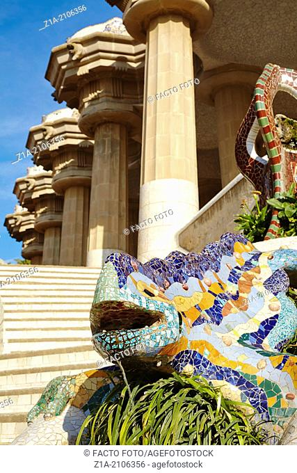 """""""El drac"""" (The dragon) at the Parc Güell, by Antoni Gaudi. Barcelona. Catalonia. Spain"