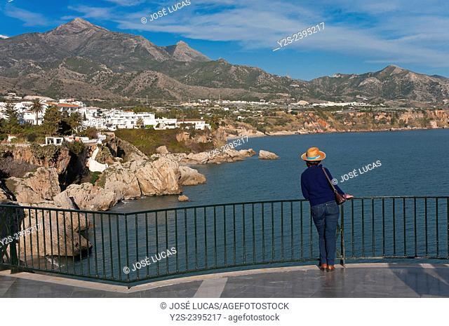 Balcon de Europa and landscape, Nerja, Malaga province, Region of Andalusia, Spain, Europe