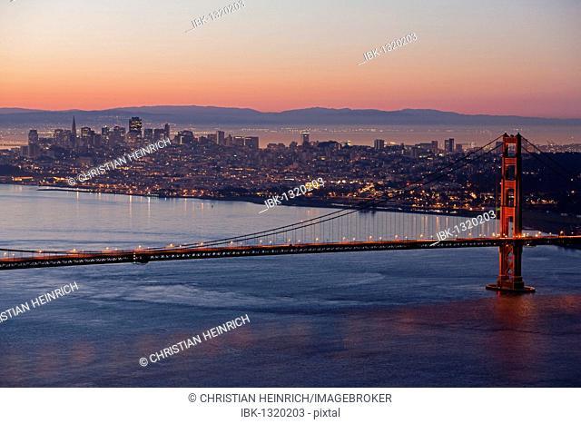 Golden Gate Bridge with San Francisco at night, California, USA, America