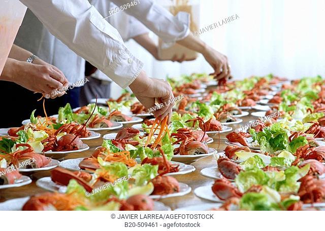 Preparing dishes. Lobster salad. Gastronomical Society, Donostia, San Sebastián, Gipuzkoa, Euskadi. Spain
