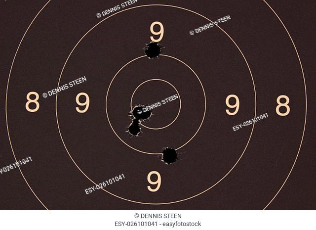 Pistol 25 meter target with 5 holes, 50 scored