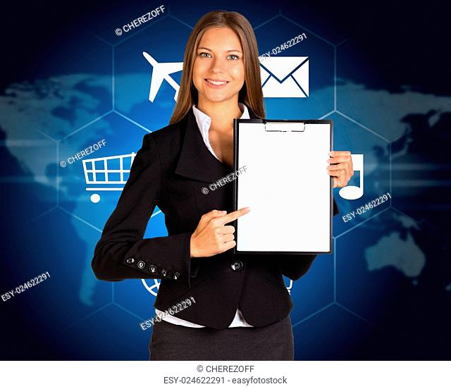 Businesswoman holding paper holder. Cloud with icons and world map as backdrop