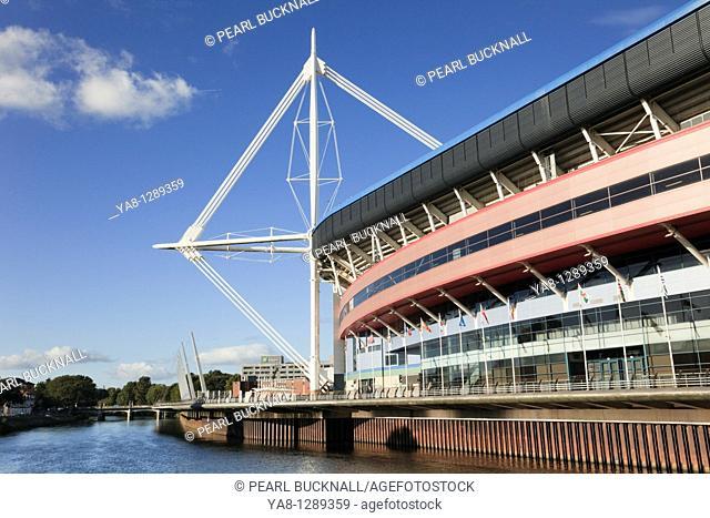 Cardiff Caerdydd, South Glamorgan, South Wales, UK, Europe  Millennium stadium football and rugby venue beside River Taff