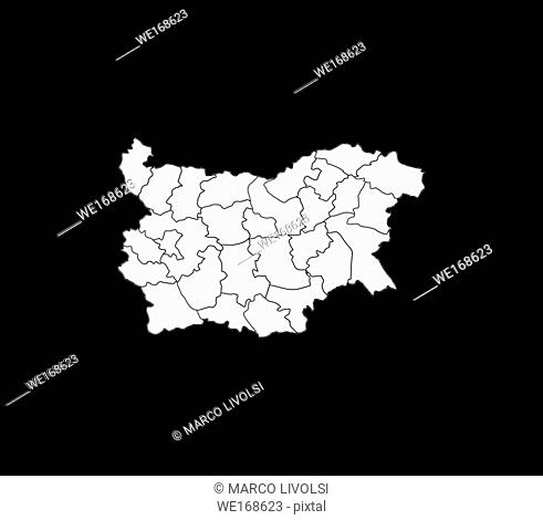 Bulgarian map with regions