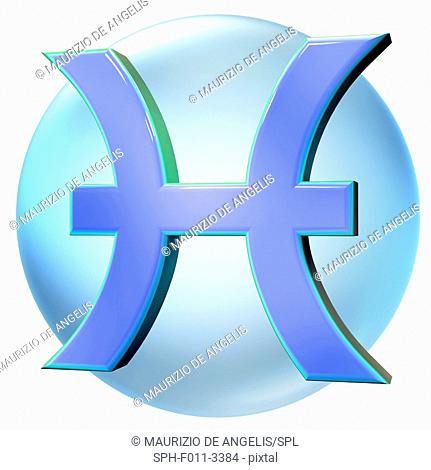 Pisces sign of the zodiac, computer illustration