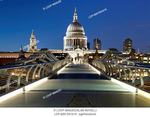 London's Millennium Bridge leading to St Pauls Cathedral at night