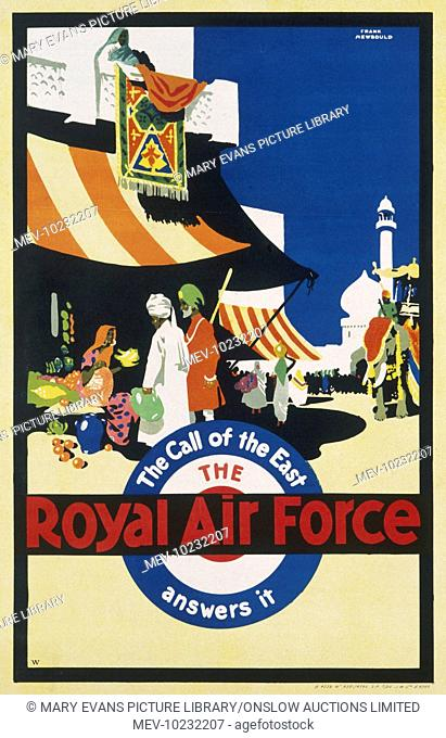 Recruitment poster for the Royal Air Force '.answers the call of the East'