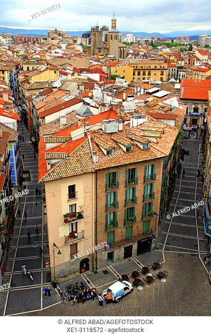 Pamplona from the bell tower of the Cathedral of Santa Maria la Real, Navarra, Spain