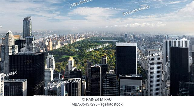 View of the top of the rock, Central park, Rockefeller centre, Manhattan, New York city, New York, the USA