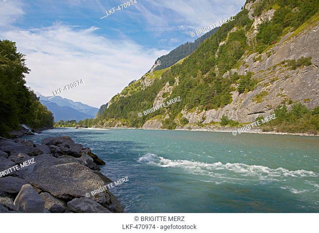 River Rhine near Chur, Alpenrhein, Rhine, Canton of Grisons, Switzerland, Europe