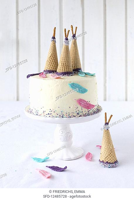 An Indian cake decorated with ice cream cones for a child's birthday
