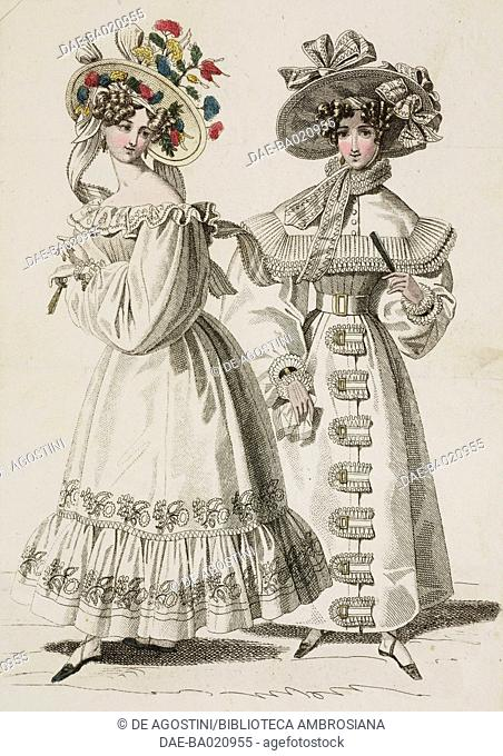 Woman wearing a white dress and hat decorated with colourful flowers and ribbons, and woman wearing a white walking coat and hat adorned with ribbons and bows