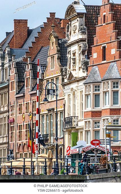 Heritage buildings along the Graslei, Ghent, Belgium