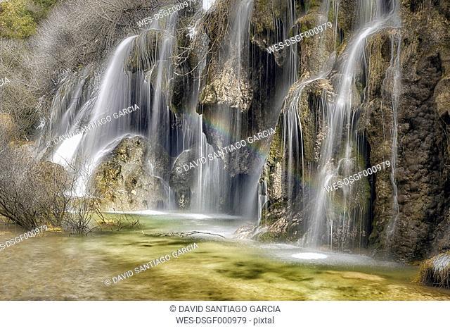 Spain, Cuenca, Waterfall at River Cuervo