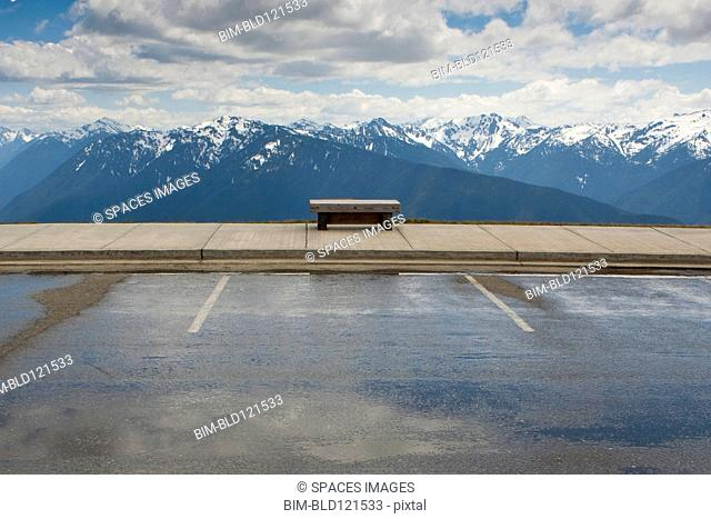 Park bench facing Hurricane Ridge, Olympic National Park, Port Angeles, Washington, United States