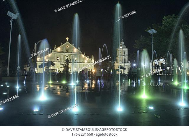 Magic fountain show at St. Paul Cathedral, Vigan, Ilocos Sur, Philippines
