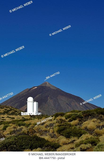 Teide Observatory, Mount Teide behind, volcano, Teide National Park, Tenerife, Canary Islands, Spain