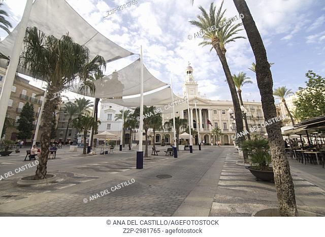 Cityscape Old town in Cadiz , Andalusia, Spain, The city hall