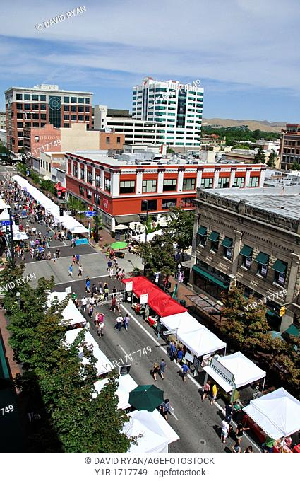 Saturday Market on Idaho Street intersection with 8th Street, Downtown Boise