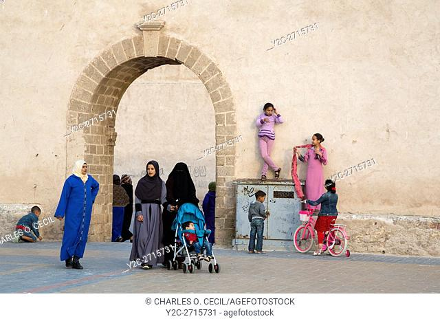 Essaouira, Morocco. The Younger and Older Generations as Revealed in Veiling and Face-covering, Place Moulay Hassan