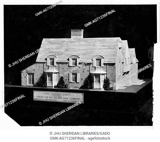 A model of a house of 203 Chancery Street, House for the Roland Park Company; the side of the house depicted with two stories, stylized window structures