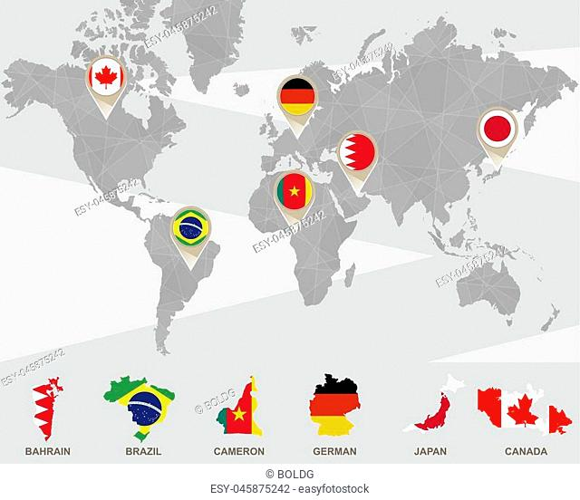 World map with Bahrain, Brazil, Cameron, German, Japan, Canada pointers. Vector Illustration
