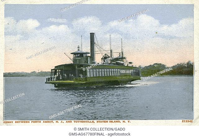 Colorized postcard showing a steamboat with passengers, on the water, titled Ferry between Perth Amboy, New Jersey, and Tottenville, Staten Island, New York