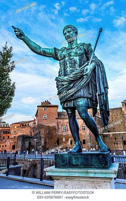 August Caesar Bronze Statue Trajan Market Rome Italy. Trajan Market built between 100 to 110 AD. Modeled on ancient statue of Augustus Cesar
