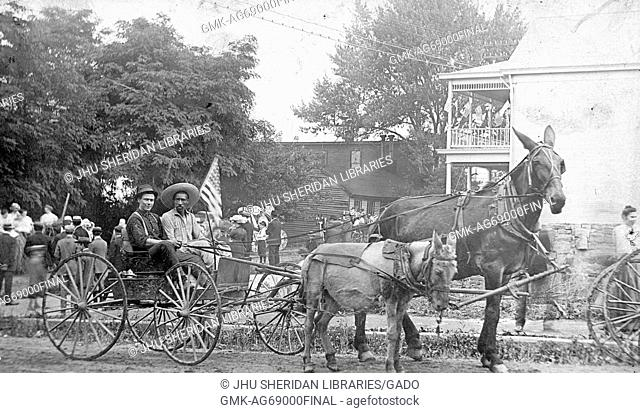 Full length sitting portraits of young African American and young white males sitting in wagon driven by a pony and a horse, riding in parade